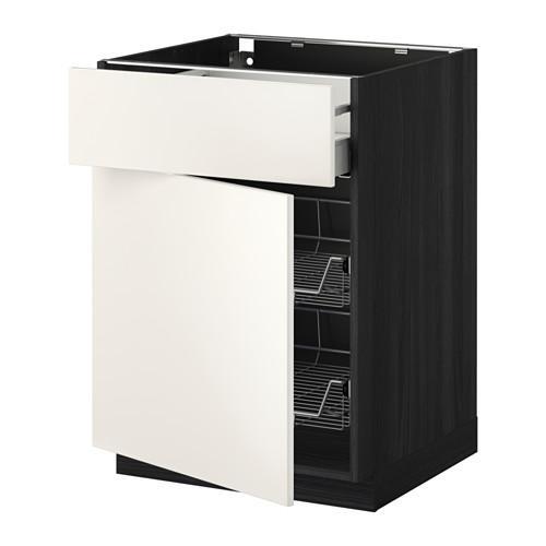 МЕТОД / МАКСИМЕРА Напольн шкаф с пров корз/ящ/дверью - 60x60 см, Веддинге белый, под дерево черный