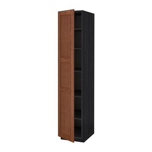 МЕТОД Высок шкаф с полками - 40x60x200 см, Филипстад коричневый, под дерево черный