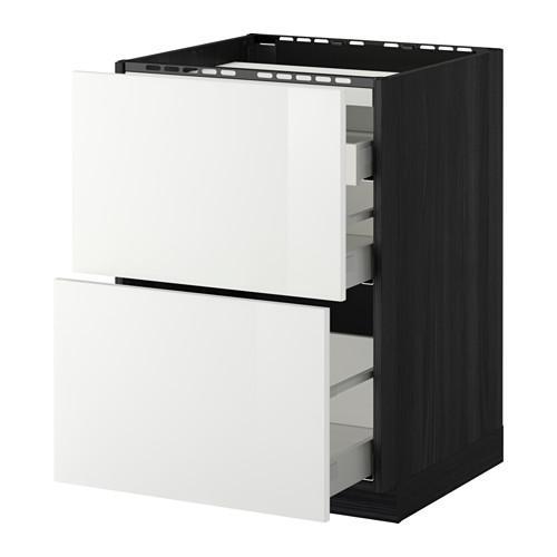 МЕТОД / МАКСИМЕРА Напольн шкаф/2 фронт пнл/3 ящика - 60x60 см, Рингульт глянцевый белый, под дерево черный