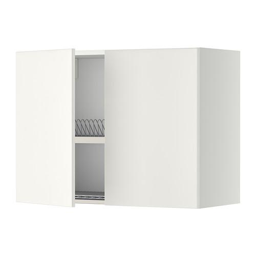 МЕТОД Навесной шкаф с посуд суш/2 дврц - 80x60 см, Веддинге белый, белый