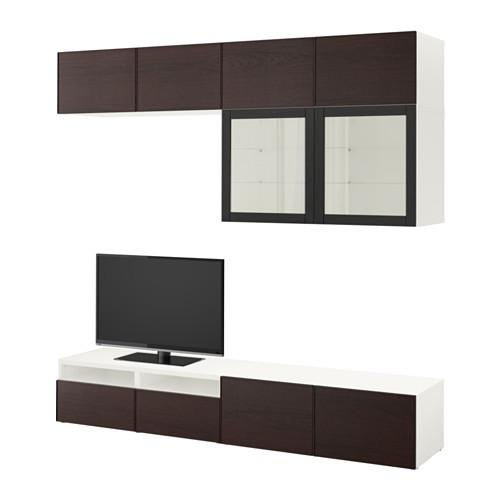 bessto schrank f r tv kombiniert glast ren wei sindwick inviken schwarz braunes glas. Black Bedroom Furniture Sets. Home Design Ideas