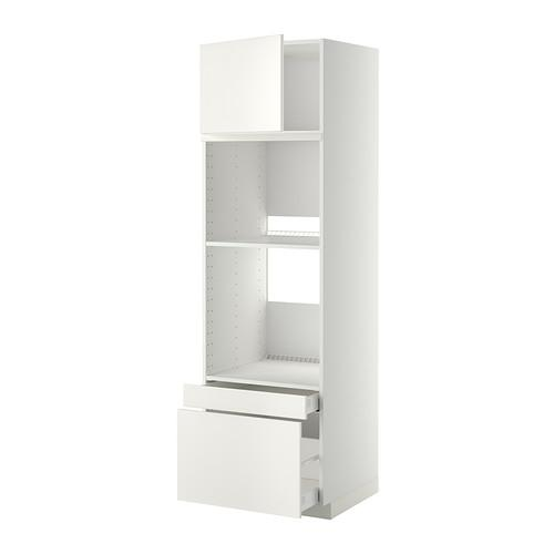 МЕТОД / МАКСИМЕРА Выс шкаф д/дхвк/комб дхвк+двр/2ящ - 60x60x200 см, Веддинге белый, белый