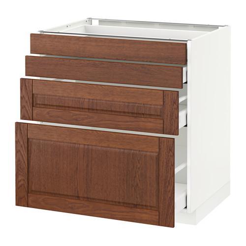 МЕТОД / МАКСИМЕРА Напольн шкаф 4 фронт панели/4 ящика - 80x60 см, Филипстад коричневый, белый
