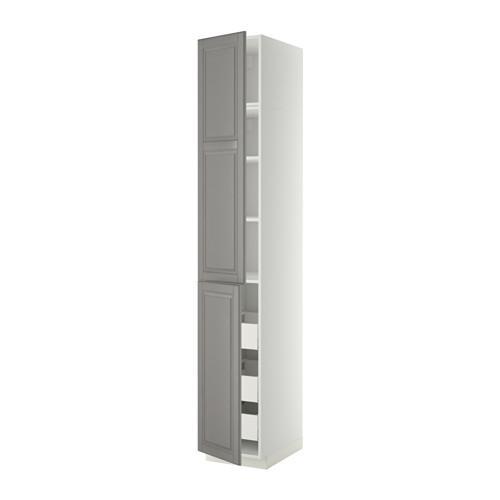 МЕТОД / МАКСИМЕРА Высокий шкаф+полки/3 ящика/2 дверцы - 40x60x240 см, Будбин серый, белый