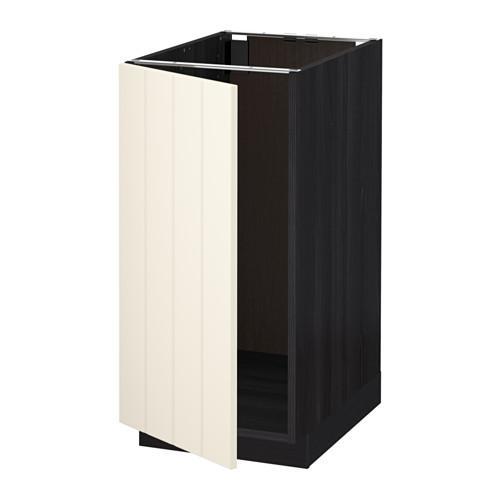 МЕТОД Наполный шкаф д/мойки/мусорн конт - Хитарп белый с оттенком, под дерево черный