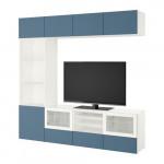 БЕСТО Шкаф для ТВ, комбин/стеклян дверцы - белый Вальвикен/темно-синий прозрачное стекло, направляющие ящика,нажимные