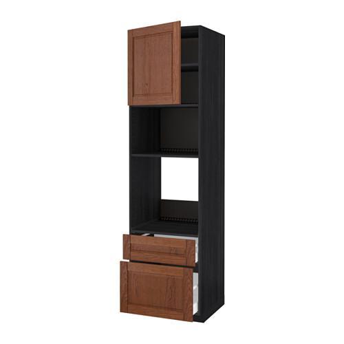 МЕТОД / МАКСИМЕРА Высок шкаф д/духовки/СВЧ/дверца/2ящ - 60x60x220 см, Филипстад коричневый, под дерево черный
