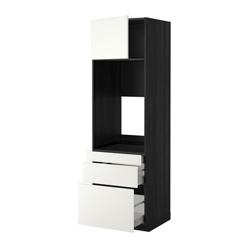 МЕТОД / МАКСИМЕРА Выс шкаф д/двойн духовки/3ящ/дверца - 60x60x200 см, Хэггеби белый, под дерево черный