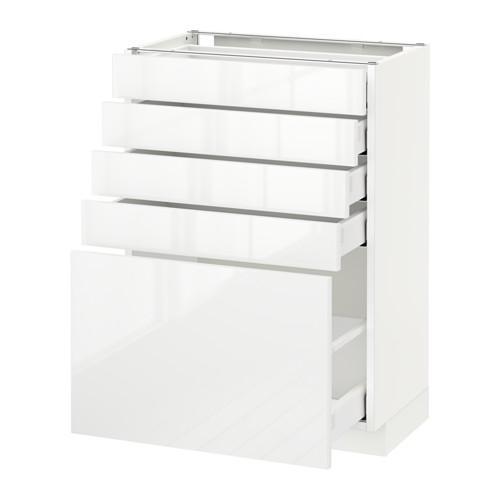 МЕТОД / МАКСИМЕРА Напольный шкаф с 5 ящиками - белый, Рингульт глянцевый белый, 60x37 см