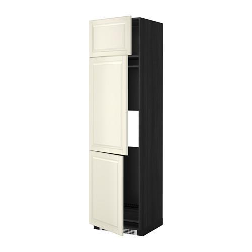 МЕТОД Выс шкаф для хол/мороз с 3 дверями - 60x60x220 см, Будбин белый с оттенком, под дерево черный