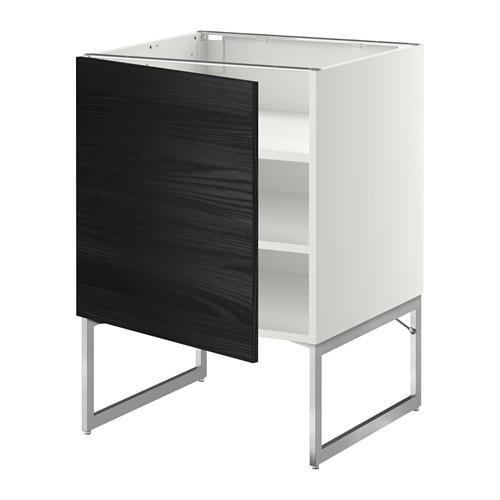 МЕТОД Напольный шкаф с полками - 60x60x60 см, Тингсрид под дерево черный, белый