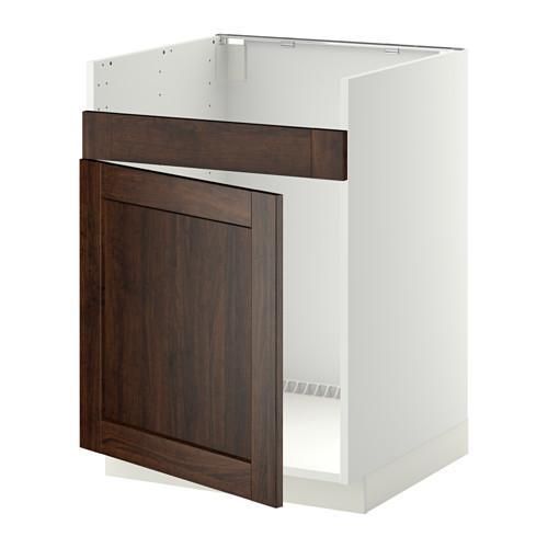 МЕТОД Нплн шкаф для одинарн мойки ДУМШЁ - Эдсерум под дерево коричневый, белый
