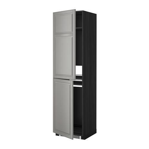 МЕТОД Высок шкаф д холодильн/мороз - 60x60x220 см, Будбин серый, под дерево черный