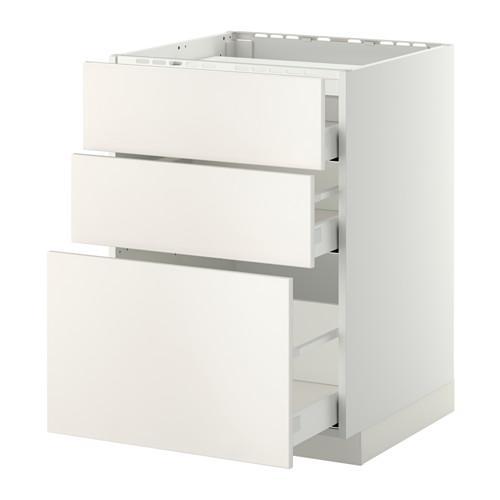 МЕТОД / МАКСИМЕРА Напольн шкаф/3фронт пнл/3ящика - 60x60 см, Веддинге белый, белый
