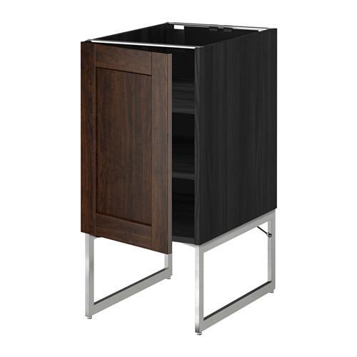 МЕТОД Напольный шкаф с полками - 40x60x60 см, Эдсерум под дерево коричневый, под дерево черный