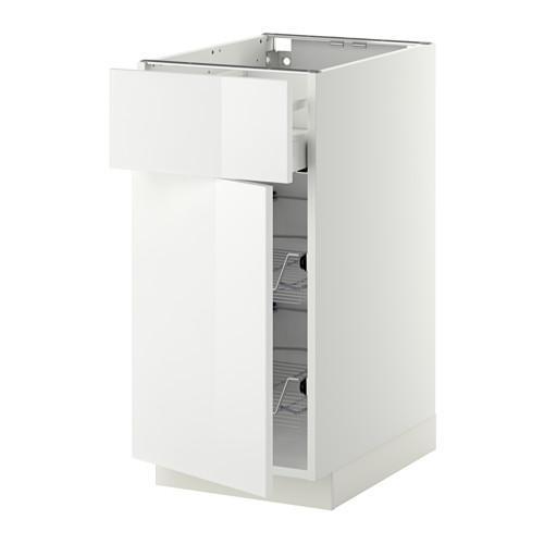 МЕТОД / МАКСИМЕРА Напольн шкаф с пров корз/ящ/дверью - 40x60 см, Рингульт глянцевый белый, белый