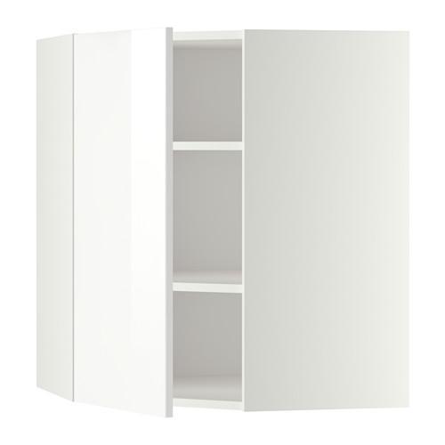 МЕТОД Угловой навесной шкаф с полками - 68x80 см, Рингульт глянцевый белый, белый