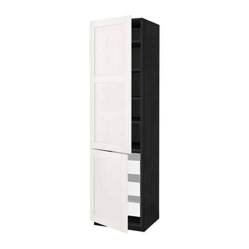 МЕТОД / МАКСИМЕРА Высокий шкаф+полки/3 ящика/2 дверцы - 60x60x220 см, Сэведаль белый, под дерево черный