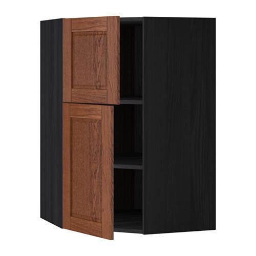 МЕТОД Угловой навесной шкаф+полки/2дверцы - Филипстад коричневый, под дерево черный