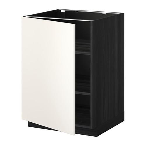 МЕТОД Напольный шкаф с полками - 60x60 см, Веддинге белый, под дерево черный