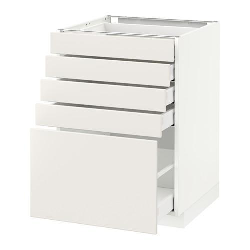 МЕТОД / МАКСИМЕРА Напольный шкаф с 5 ящиками - 60x60 см, Веддинге белый, белый