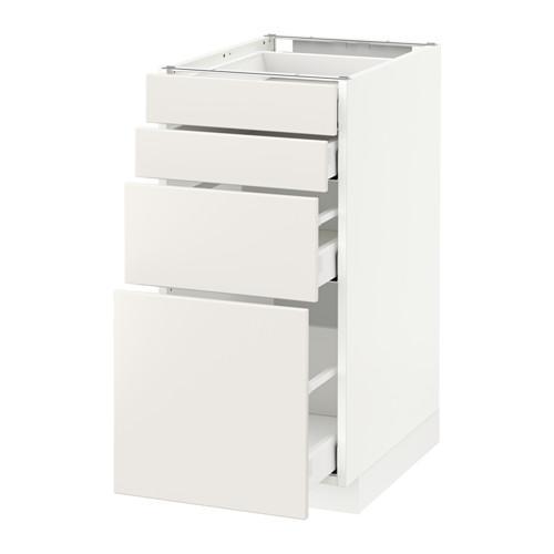 МЕТОД / МАКСИМЕРА Напольн шкаф 4 фронт панели/4 ящика - 40x60 см, Веддинге белый, белый
