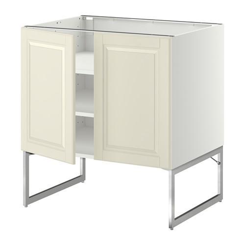 МЕТОД Напол шкаф с полками/2двери - 80x60x60 см, Будбин белый с оттенком, белый