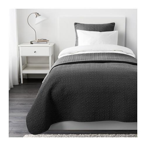 АЛИНА Покрывало и чехол на подушку - темно-серый, 180x280/65x65 см