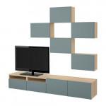 БЕСТО Шкаф для ТВ, комбинация - под беленый дуб/Вальвикен серо-бирюзовый, направляющие ящика, плавно закр