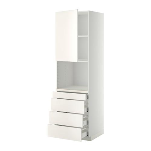 МЕТОД / МАКСИМЕРА Высокий шкаф д/комбинир СВЧ/4 ящика - 60x60x200 см, Веддинге белый, белый