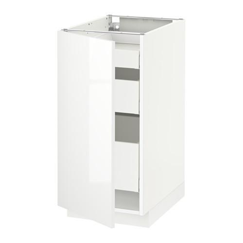 МЕТОД / МАКСИМЕРА Напольный шкаф с 1двр/3ящ - 40x60 см, Рингульт глянцевый белый, белый