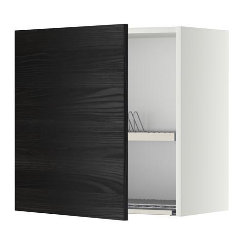 МЕТОД Шкаф навесной с сушкой - 60x60 см, Тингсрид под дерево черный, белый