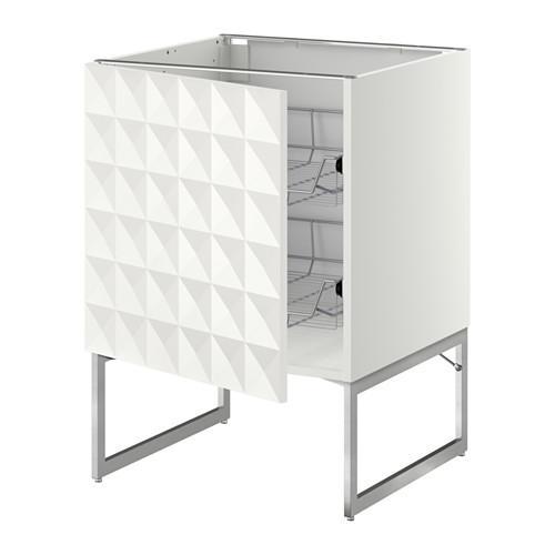 МЕТОД Напольный шкаф с проволочн ящиками - 60x60x60 см, Гэррестад белый, белый