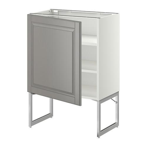 МЕТОД Напольный шкаф с полками - 60x37x60 см, Будбин серый, белый