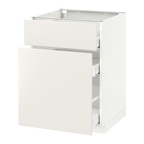 МЕТОД / МАКСИМЕРА Напольн шкаф/выдвижн секц/ящик - 60x60 см, Веддинге белый, белый