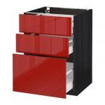 МЕТОД / МАКСИМЕРА Напольный шкаф с 3 ящиками - 60x60 см, Рингульт глянцевый красный, под дерево черный
