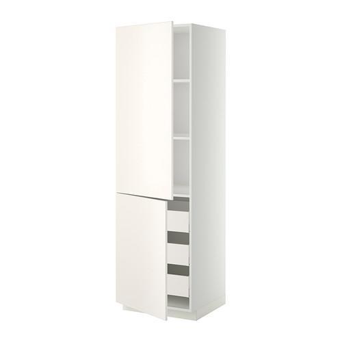 МЕТОД / МАКСИМЕРА Высокий шкаф+полки/3 ящика/2 дверцы - 60x60x200 см, Веддинге белый, белый