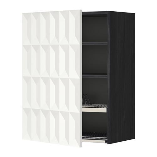 МЕТОД Шкаф навесной с сушкой - 60x80 см, Гэррестад белый, под дерево черный