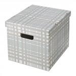 СМЕКА Коробка с крышкой - белый/клетчатый орнамент