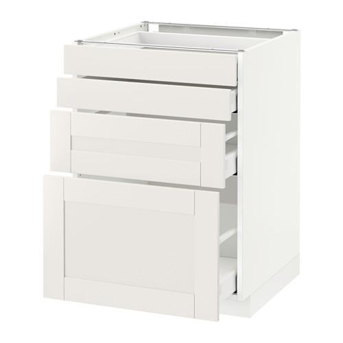 МЕТОД / МАКСИМЕРА Напольн шкаф 4 фронт панели/4 ящика - 60x60 см, Сэведаль белый, белый