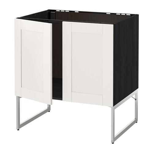МЕТОД Напольн шкаф д раковины+2 двери - Сэведаль белый, под дерево черный