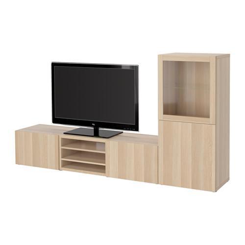 besto tv schrank kombinierte glast ren lappviken svendvik unter gebleicht eiche. Black Bedroom Furniture Sets. Home Design Ideas