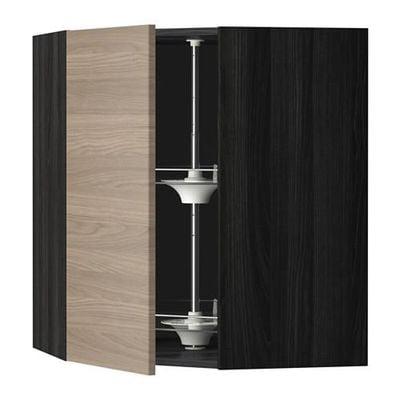 МЕТОД Угл нвсн шкф с вращающ секц - 68x80 см, Брокхульт под грецкий орех светло-серый, под дерево черный
