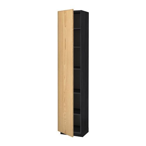 МЕТОД Высок шкаф с полками - 40x37x200 см, Экестад дуб, под дерево черный