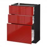 МЕТОД / МАКСИМЕРА Напольный шкаф с 3 ящиками - 60x37 см, Рингульт глянцевый красный, под дерево черный