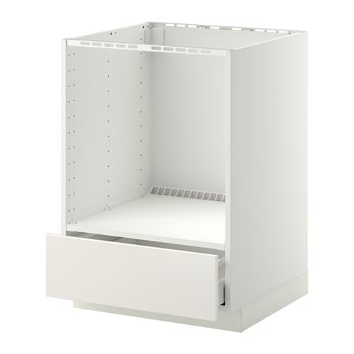 МЕТОД / МАКСИМЕРА Напольный шкаф д/духовки, с ящиком - Веддинге белый, белый