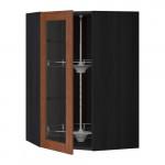 МЕТОД Углов навесн шк с врщ скц/сткл дв - 68x100 см, Филипстад коричневый, под дерево черный