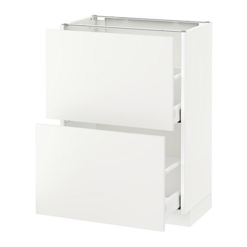МЕТОД / МАКСИМЕРА Напольный шкаф с 2 ящиками - белый, Хэггеби белый, 60x37 см
