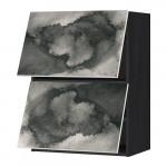МЕТОД Навесной шкаф/2 дверцы, горизонтал - под дерево черный, Кальвиа с печатным рисунком, 60x80 см