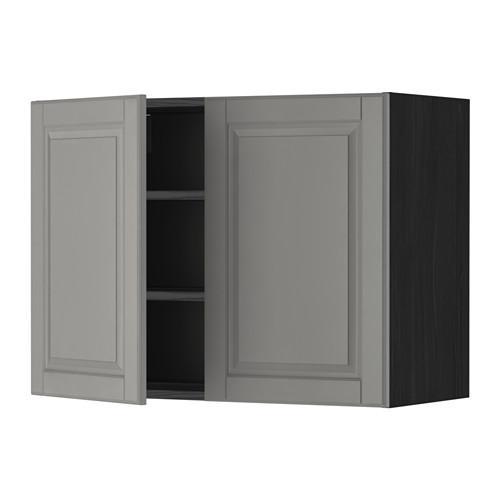 МЕТОД Навесной шкаф с полками/2дверцы - 80x60 см, Будбин серый, под дерево черный